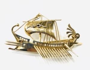 Χρυσή Κ18 καρφίτσα τριήρης !! Εκλεκτά Κοσμήματα