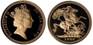 1990 gold sovereign proof Ξένα νομίσματα