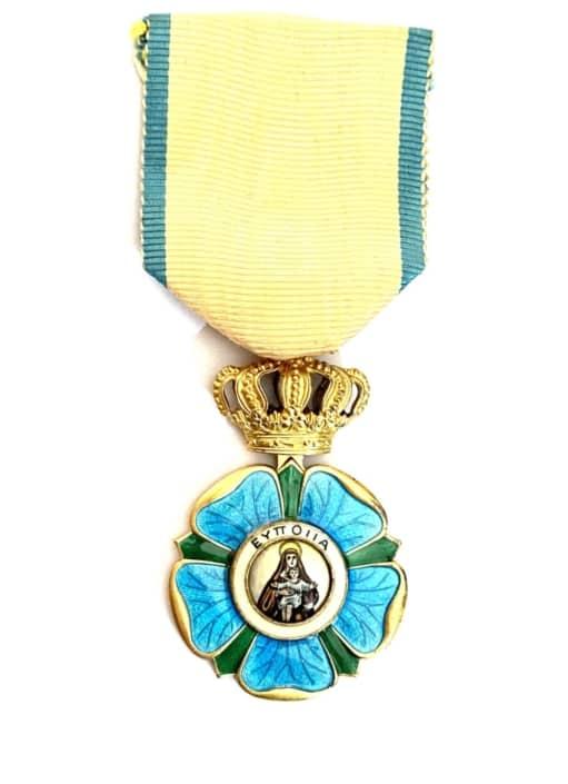 Ελλάς τάγμα της Ευποιΐας, Greece, Kingdom. An Order Of Beneficence, Gold Cross Παράσημα - Στρατιωτικά μετάλλια - Τάγματα αριστείας