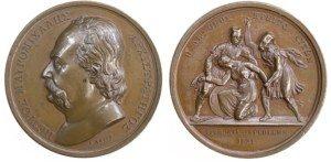 1836 Ελλάς , μετάλλιο του Lange με τον Πετρόμπεη Μαυρομιχάλη Αναμνηστικά Μετάλλια