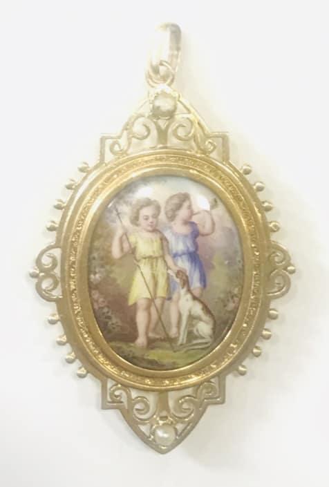 Μενταγιόν χρυσό με ζωγραφιστή πορσελάνη Εκλεκτά Κοσμήματα