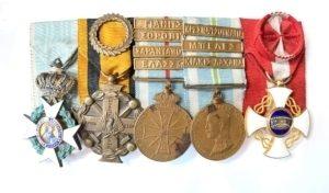 Ελλάς, Μπαρέτα με 5 Απονομές Παράσημα - Στρατιωτικά μετάλλια - Τάγματα αριστείας