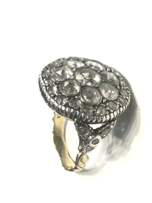 Χρυσό αντικέ δαχτυλίδι με διαμάντια Εκλεκτά Κοσμήματα