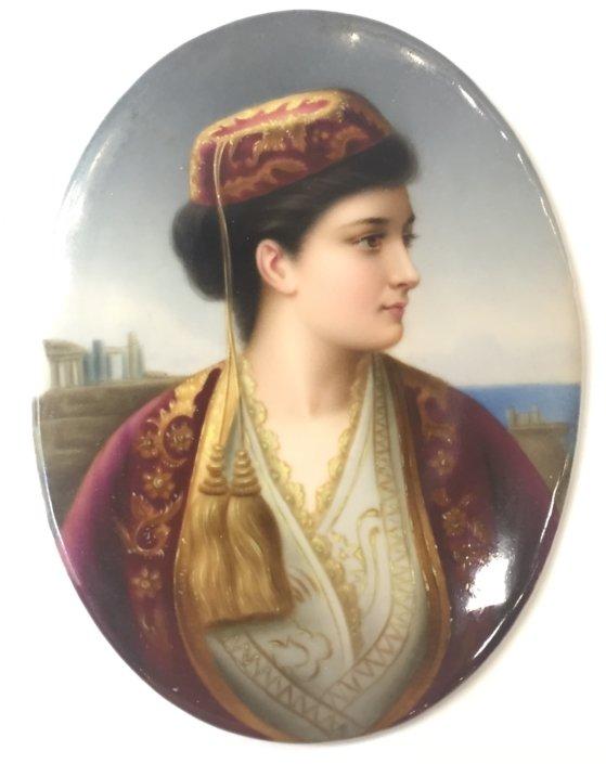 """Φιλελληνική πορσελάνινη πλάκα """"Ελληνική ομορφιά"""" , 19ος αι. Αντίκες & διάφορα"""