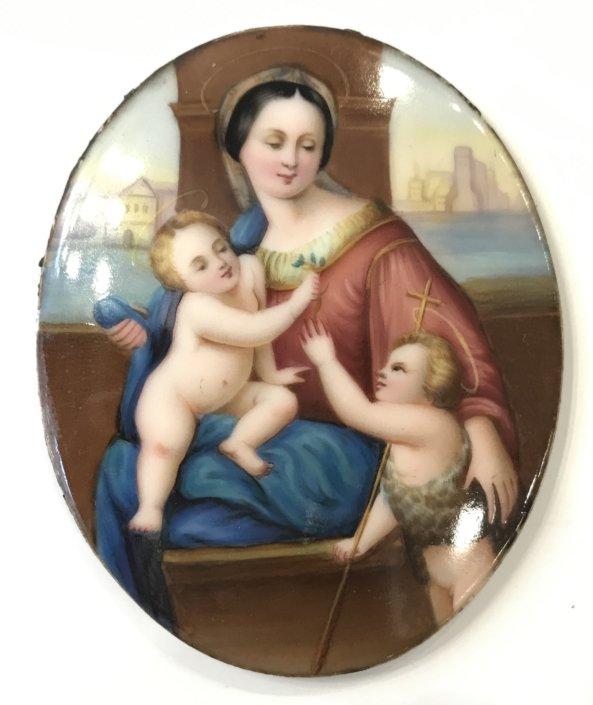 Πορσελάνινη πλάκα ζωγραφισμένη στο χέρι , Παναγία , Χριστός & Ιωάννης Αντίκες & διάφορα