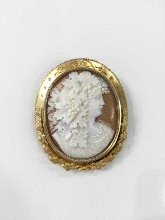 Καμεό 19c κεφαλή του Διονύσου, χρυσό σκαλιστό μενταγιόν Αντίκες & διάφορα