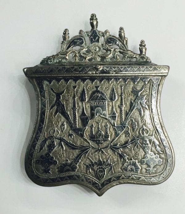 Οθωμανική ασημένια Παλάσκα / μπαρουτοθήκη, επαναστατικής περιόδου με νίελο Αντίκες & διάφορα