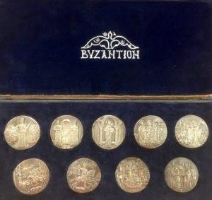 Αναμνηστική κασετίνα με 9 ασημένια μετάλλια , ΒΥΖΑΝΤΙΟΝ Αναμνηστικά Μετάλλια