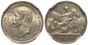 1911 Greece 1 drachma AU58 Ελληνικά Νομίσματα