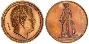 1827 Walter Scott bronze medal, THE GREAT MEN Αναμνηστικά Μετάλλια
