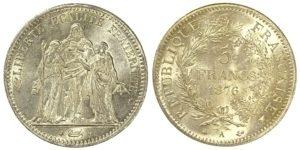 France 5 Francs 1876-A, Paris Silver Ξένα νομίσματα