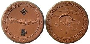 1941 Meissen Porcelain Kreta (brown) Medal Αναμνηστικά Μετάλλια
